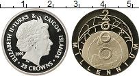 Изображение Монеты Теркc и Кайкос 25 крон 2000 Серебро Proof