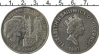 Изображение Монеты Гернси 5 фунтов 1997 Медно-никель UNC Елизавета и Филипп