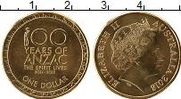 Изображение Мелочь Австралия 1 доллар 2018 Латунь UNC 100 лет ANZAC