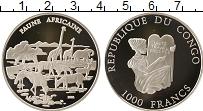 Изображение Монеты Конго 1000 франков 2002 Серебро Proof Фауна Африки