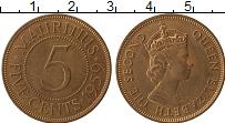 Изображение Монеты Маврикий 5 центов 1959 Бронза UNC- Елизавета II
