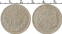 Изображение Монеты Румыния 2 лей 1873 Серебро VF+