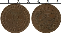 Изображение Монеты Тунис 10 сантим 1917 Бронза XF+