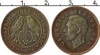 Изображение Монеты ЮАР 1/4 пенни 1952 Бронза XF