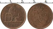 Изображение Монеты Бельгия 2 сантима 1870 Медь XF+ Леопольд II. Геральд