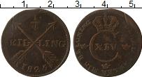 Изображение Монеты Швеция 1/4 скиллинга 1825 Медь VF