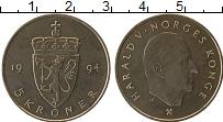 Изображение Мелочь Норвегия 5 крон 1994 Медно-никель UNC Харольд V (Редкий ти