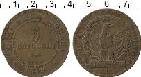 Изображение Монеты Италия 3 байоччи 1849 Медь VF `Вторая Римская Респ