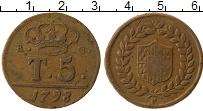 Изображение Монеты Неаполь 5 торнеси 1798 Медь XF- Фердинанд IV, 30 мм.