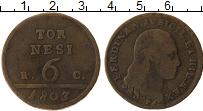 Изображение Монеты Неаполь 6 торнеси 1803 Медь VF Фердинанд IV