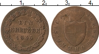 Изображение Монеты Германия Гогенцоллерн-Зигмаринген 1 крейцер 1846 Медь VF