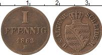 Продать Монеты Саксен-Альтенбург 1 пфенниг 1863 Медь