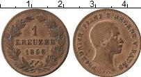 Продать Монеты Баден 1 крейцер 1856 Медь
