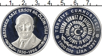 Изображение Монеты Турция 1000000 лир 1997 Серебро Proof 60 лет со дня смерти
