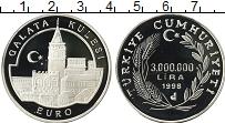 Изображение Монеты Турция 3000000 лир 1998 Серебро Proof Башня Галата в Стамб