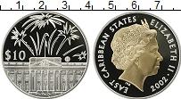 Изображение Монеты Карибы 10 долларов 2002 Серебро Proof Елизавета II