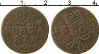 Изображение Монеты Бремен 2 1/2 шварена 1802 Медь VF+