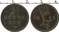 Изображение Монеты Бремен 2 1/2 шварена 1841 Медь VF+