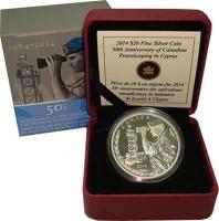 Изображение Подарочные монеты Канада 20 долларов 2014 Серебро Proof 50 лет вывода Канадс
