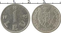 Изображение Монеты Молдавия 1 лей 1992 Железо XF