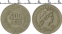 Изображение Монеты Бразилия 400 рейс 1919 Медно-никель XF-