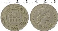 Изображение Монеты Бразилия 400 рейс 1922 Медно-никель XF