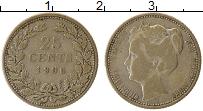 Изображение Монеты Нидерланды 25 центов 1906 Серебро XF Вильгельмина