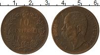 Изображение Монеты Италия 10 сентесим 1894 Бронза XF Умберто I