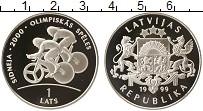 Изображение Монеты Латвия 1 лат 1999 Серебро Proof