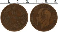 Изображение Монеты Италия 10 сентесим 1866 Медь VF Н, Виктор Эммануил I