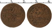 Продать Монеты Росток 3 пфеннига 1862 Медь