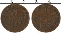 Продать Монеты Шварцбург-Зондерхаузен 3 пфеннига 1858 Медь