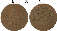 Продать Монеты Росток 3 пфеннига 1855 Медь
