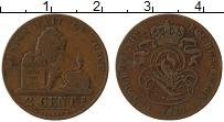Изображение Монеты Бельгия 2 сантима 1868 Медь XF-