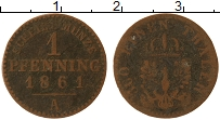 Изображение Монеты Пруссия 1 пфенниг 1861 Медь VF А