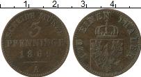 Изображение Монеты Пруссия 3 пфеннига 1869 Медь VF А