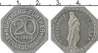 Изображение Монеты Германия : Нотгельды 20 пфеннигов 1920 Алюминий XF Нюрнберг. Трамвай