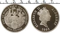 Изображение Монеты Олдерни 5 фунтов 2005 Серебро Proof- 60 лет победы во 2-о