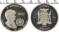 Изображение Монеты Африка Замбия 2500 квач 1998 Серебро Proof-