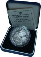 Изображение Подарочные монеты Соломоновы острова 1 доллар 1991 Серебро Proof