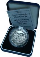 Изображение Подарочные монеты Соломоновы острова 1 доллар 1992 Серебро Proof