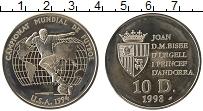 Изображение Монеты Андорра 10 динерс 1993 Серебро Proof- Чемпионат  мира  по