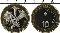 Изображение Монеты Швейцария 10 франков 2017 Биметалл UNC Флора Альп, Горечавк