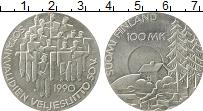 Изображение Монеты Финляндия 100 марок 1990 Серебро UNC- 50-летие общества ин