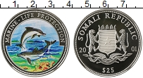 Изображение Монеты Сомали 25 долларов 2001 Серебро Proof Защита морской жизни