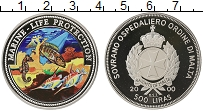 Изображение Монеты Мальтийский орден 500 лир 2000 Серебро Proof Защита морской жизни