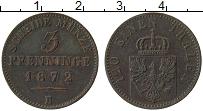 Изображение Монеты Пруссия 3 пфеннига 1872 Медь XF- В