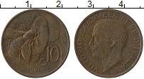 Изображение Монеты Италия 10 чентезимо 1921 Бронза XF Виктор  Эммануил III