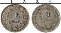 Изображение Монеты Швейцария 1 франк 1928 Серебро VF