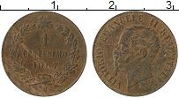 Изображение Монеты Италия 1 сентесимо 1867 Бронза VF Виктор Эммануил II